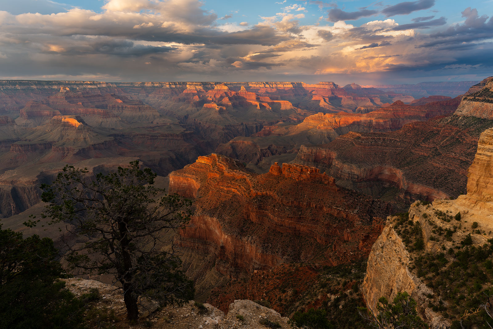 Arizona, Grand Canyon, National Park, Powell Point, South Rim, Sunset, Monsoon, Storms, Hopi Point, photo