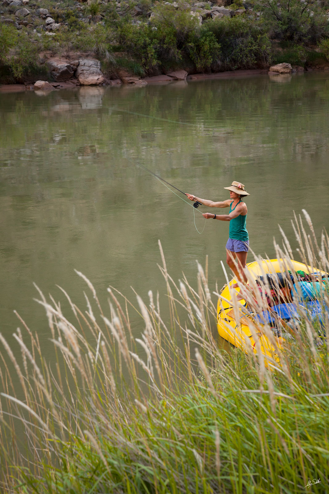 Amy Martin fly fishing on the Colorado River. Grand Canyon National Park in Arizona. Photo © Adam Schallau, All Rights Reserved...