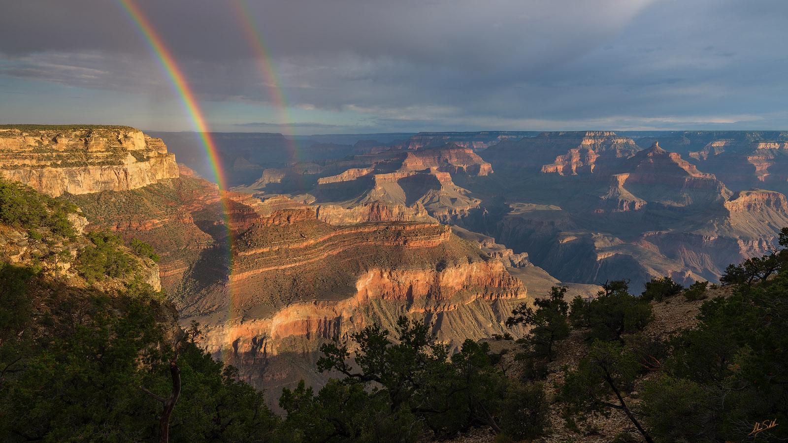AZ, Arizona, Grand Canyon, Monsoon, National Park, Rainbow, South Rim, Yavapai Point, photo