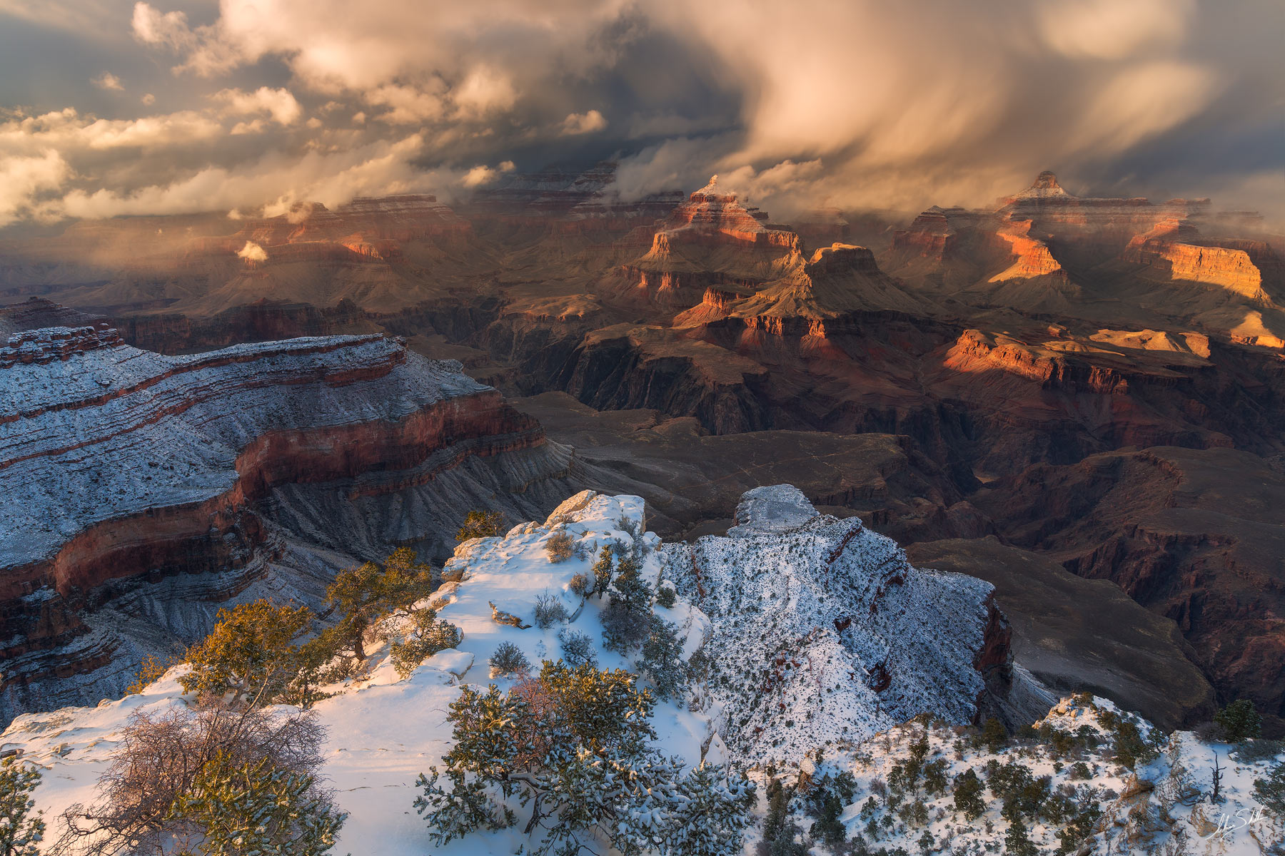 A break in the storm. From Yavapai Point on the South Rim of Grand Canyon National Park. Photo © Adam Schallau, All Rights Reserved...