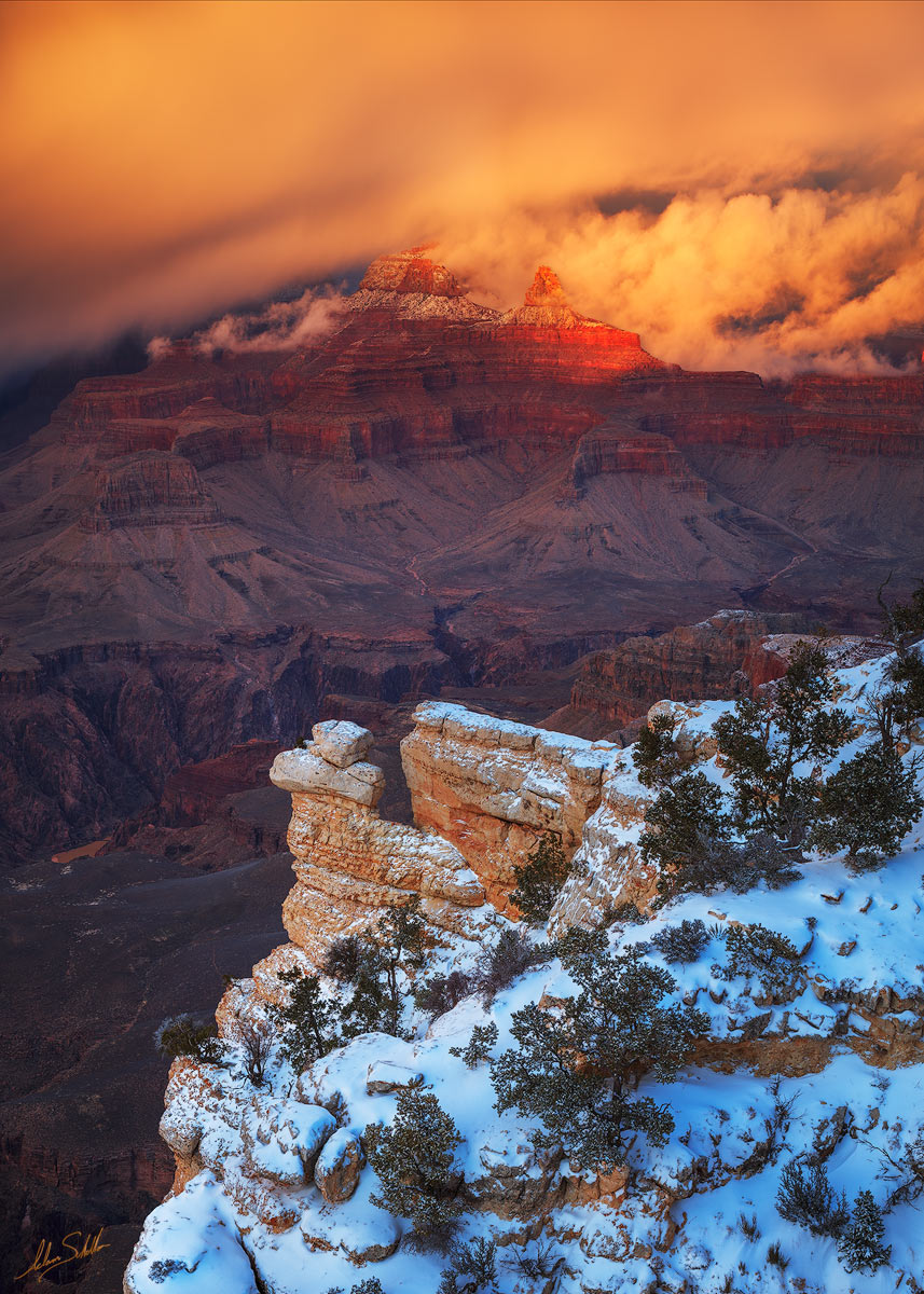 AZ, Arizona, Brahma Temple, Clouds, Grand Canyon, Grand Canyon National Park, National Park, Snow, South Rim, South Rim of the Grand Canyon, Storm, Winter, Winter at the Grand Canyon, Yavapai Point, Z, photo