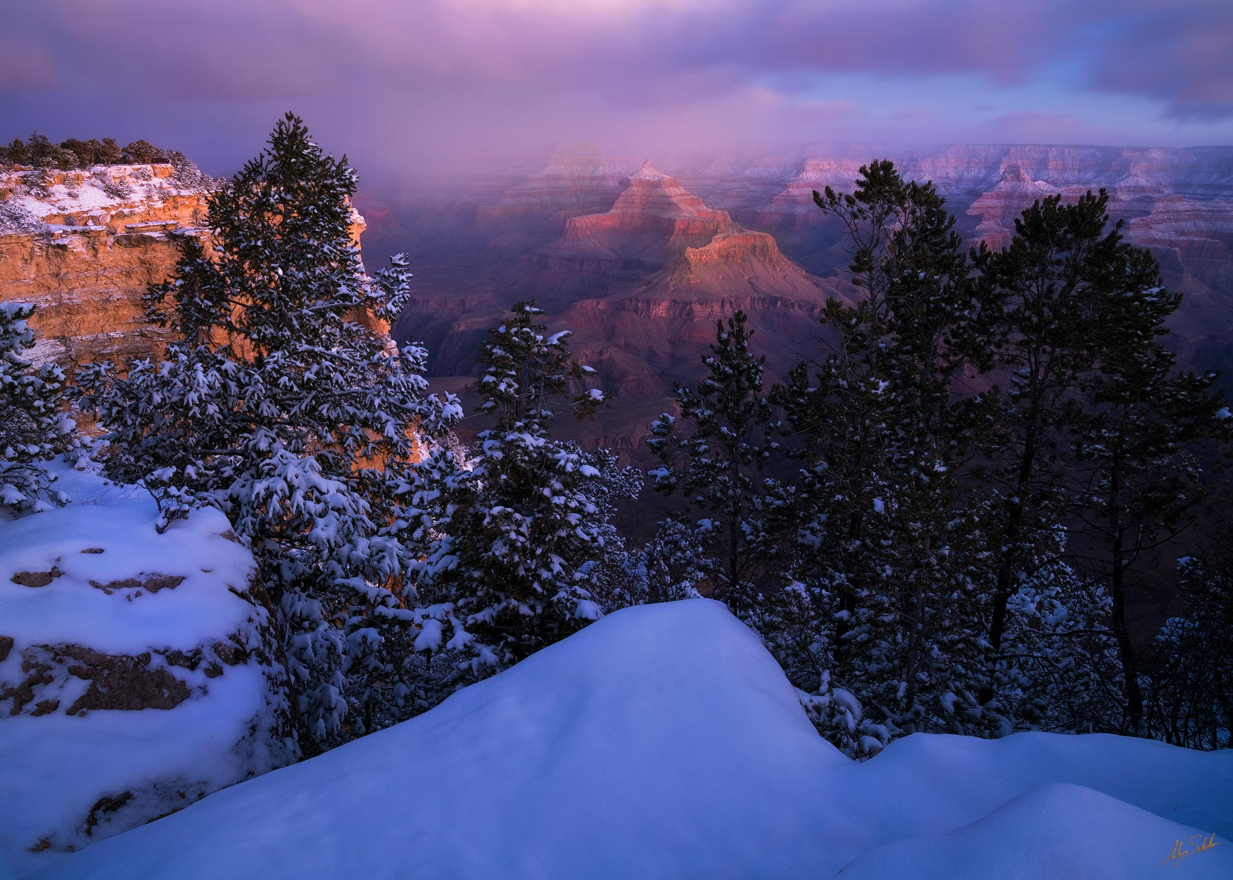 AZ, Arizona, Grand Canyon, Grand Canyon National Park, Isis Temple, National Park, South Rim, South Rim of the Grand Canyon, Winter, Winter at the Grand Canyon, photo