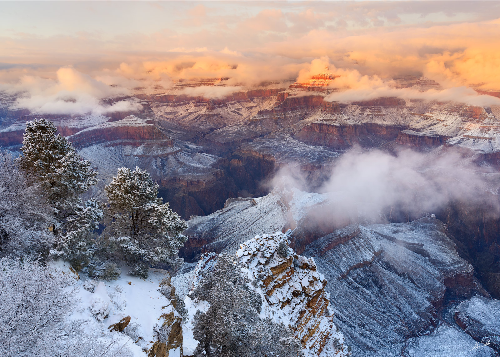 AZ, Arizona, Grand Canyon, Grand Canyon National Park, Grand Canyon Snow, Grand Canyon Winter, Isis Temple, National Park, Snow, Snow at the Grand Canyon, South Rim, South Rim of the Grand Canyon, Win, photo
