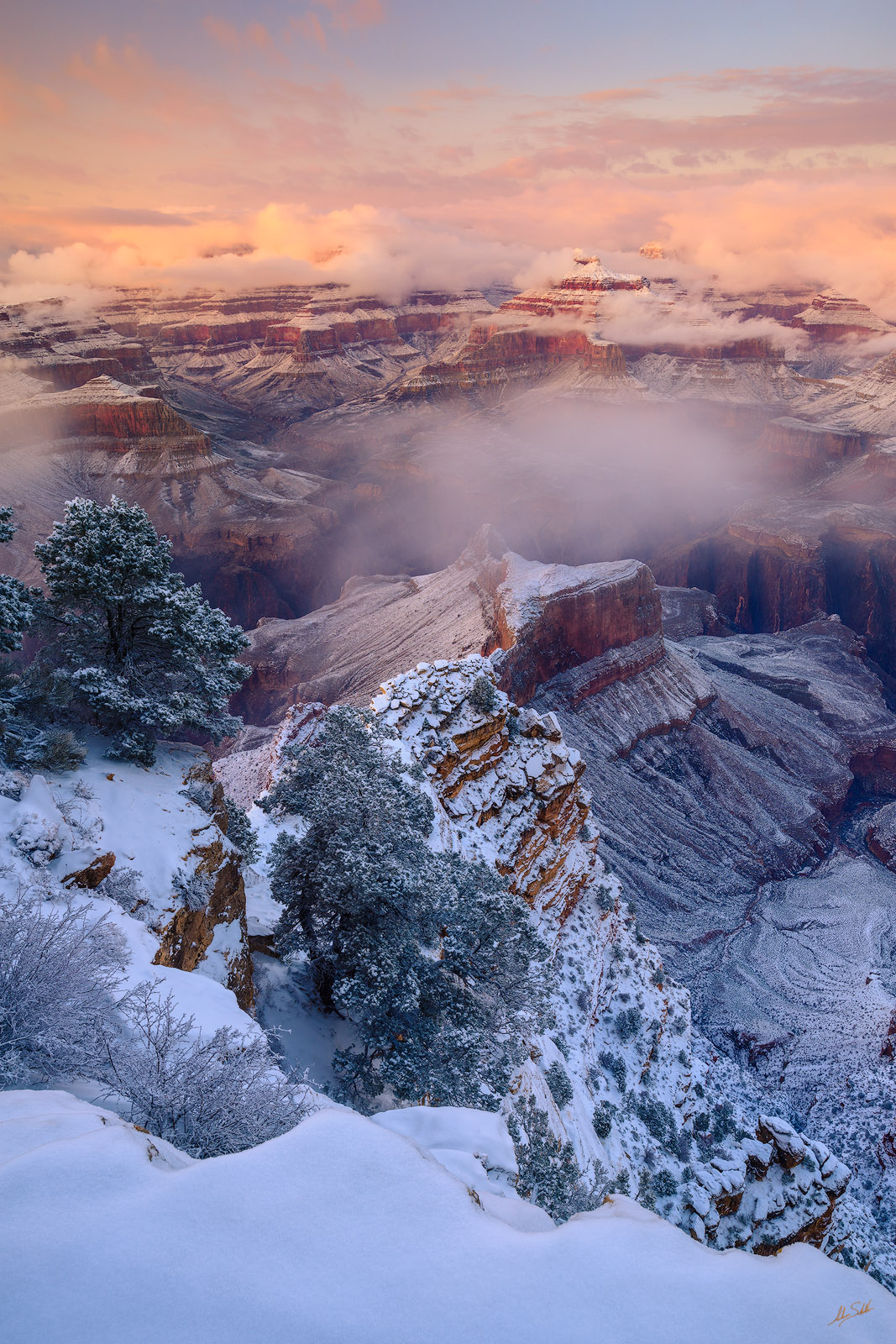 The winter storm of New Year's Day, 2015, clears from the Isis Temple and the Grand Canyon. From Hopi Point on the South Rim...