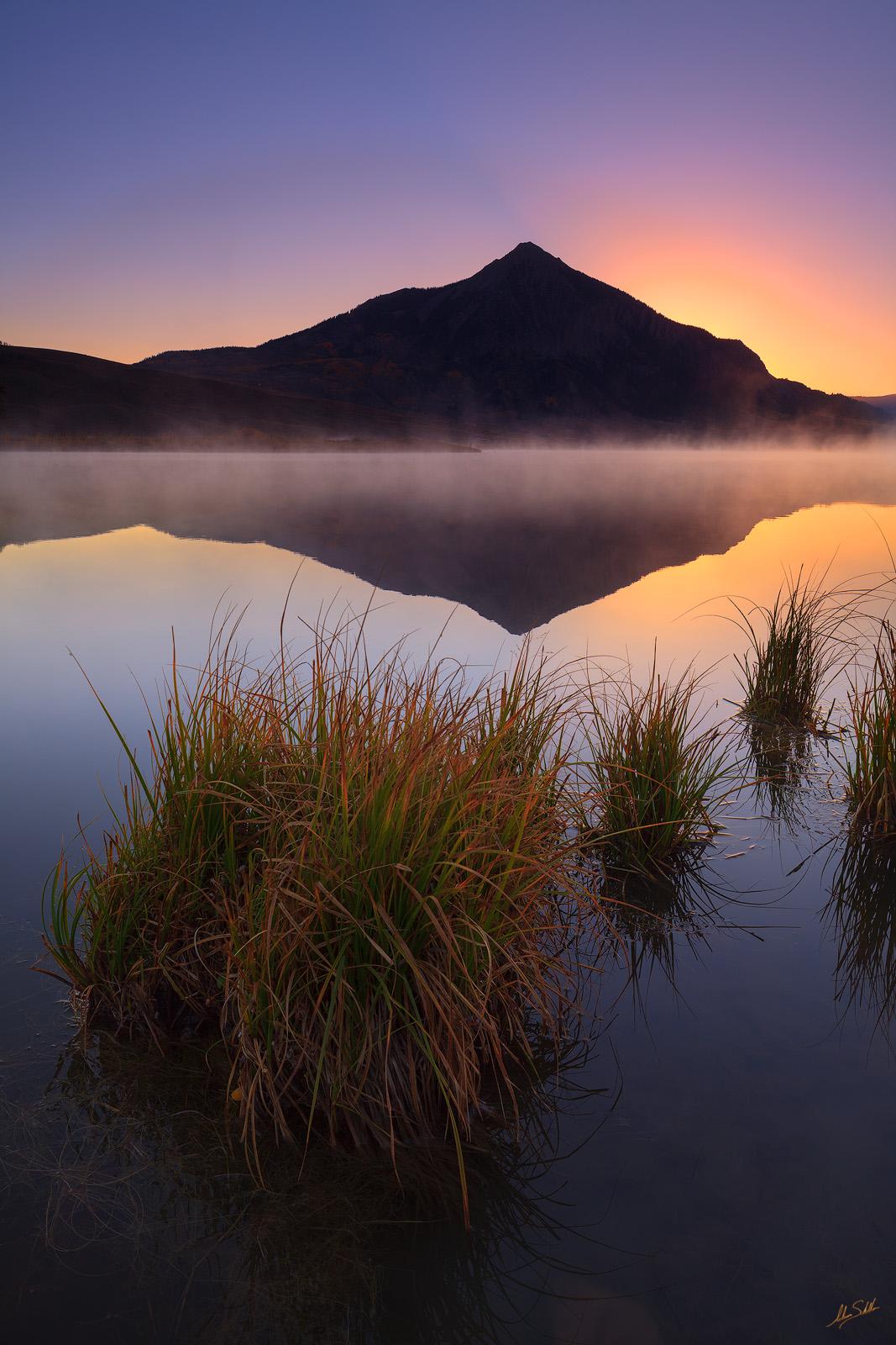 Autumn, CO, Colorado, Crested Butte, Fall, Fall Color, Fog, Lake, Mount Crested Butte, Peanut Lake, Reflection, Rocky Mountains, Sunrise, Water, grass, grasses, photo