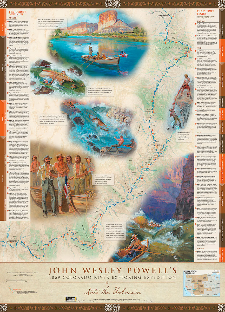 Powell, Expedition, Map, 1869, Historic, Grand Canyon, Colorado River, John Wesley Powell, Explorer, photo