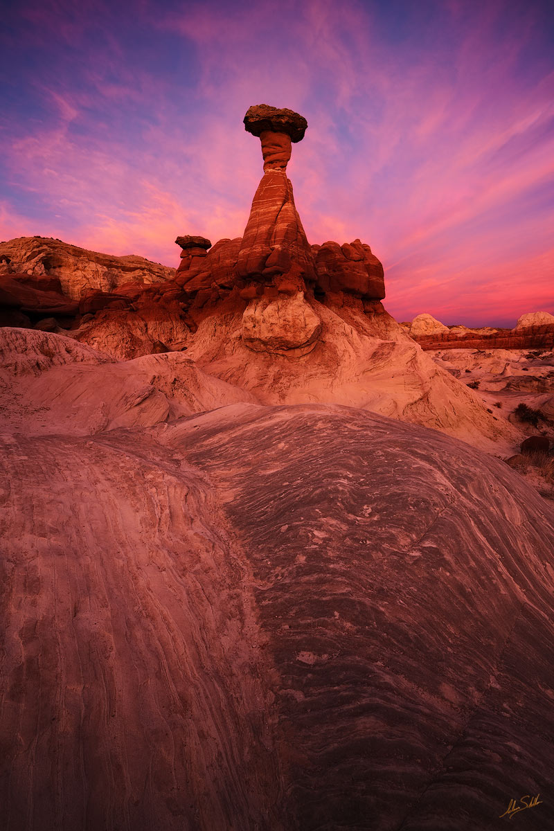 Sunset over the toadstool hoodoos of the Rimrock Hoodoo site in Grand Staircase-Escalante National Monument in southern Utah....
