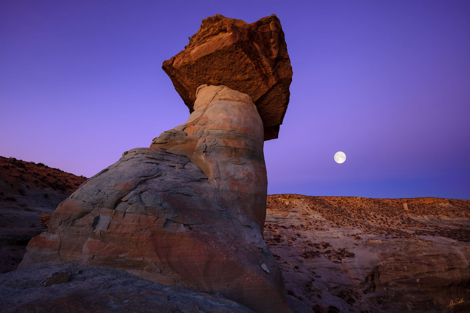 AZ, Arizona, Desert, Full Moon, Hoodoo, Geology, Lunar, Moon, Stud Horse Point, Stud Horse Point Hoodoos, Toadstool, photo