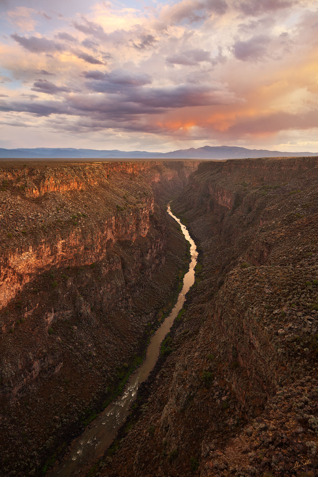Sunset over the Rio Grande Gorge near Taos, New Mexico. This section of the river is now part of the Rio Grande del Norte National Monument.