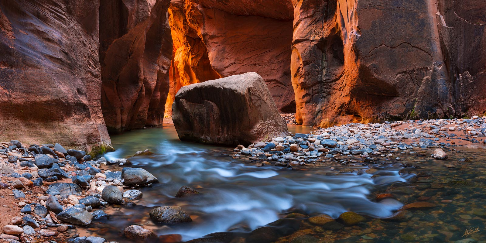 American West, Colorado Plateau, Imlay Boulder, Southwest, Utah, Virgin River, Virgin River Narrows, Zion, Zion National Park, photo